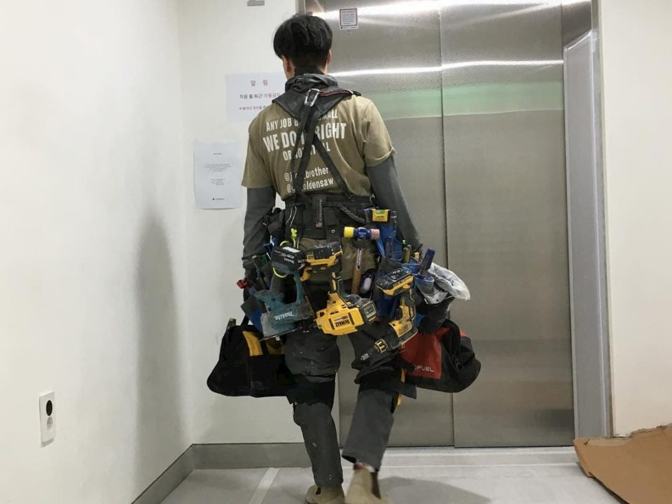 Fully loaded tool belt system for maximum capacity, photo by jeon_brothers